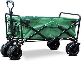 Carro de la Compra portátil al Aire Libre Carretilla Plegable del Remolque de Cuatro Ruedas con la Carretilla del Bolso del Almacenamiento (Color : Green)