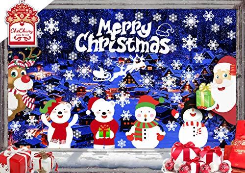 CheChury Schneeflocken Fensterbilder Weihnachtsmann Elk Weihnachten Aufkleber Fenster Netter Schneemann und Kleiner Bär Weihnachten Deko Wandtattoo Weihnachten Statisch Haftende PVC Aufkleber Bären