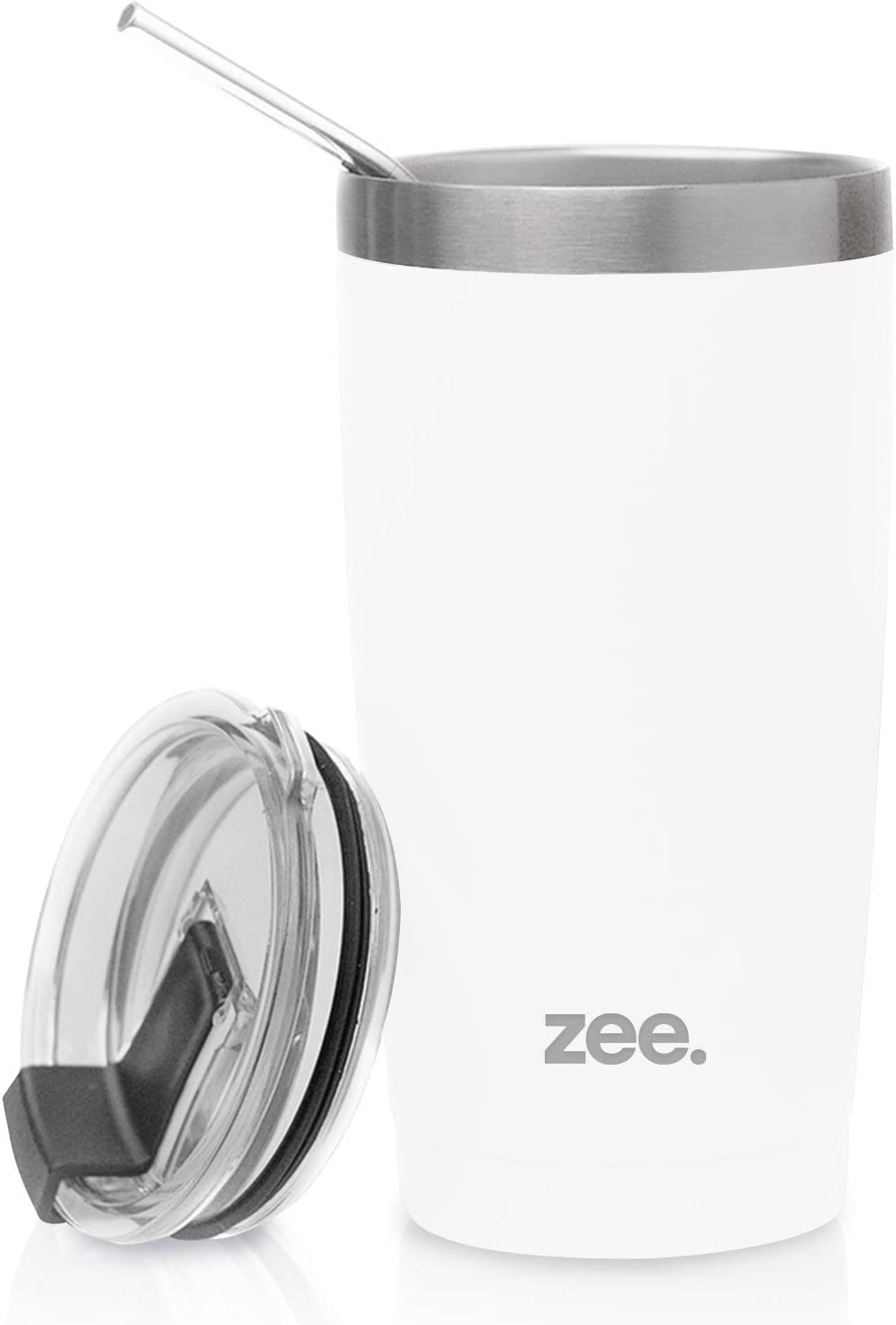Tumbler with Straw & Cleaning Brush - Vacum Insulated Stainless Steel Tumbler Cup For Hot & Cold Beverages - Non-Slip, Anti-Splash, Sweat-Proof, Portable Travel Mugs by Zee (White, 20 oz)