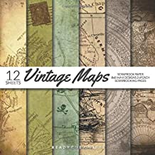 Vintage Maps Scrapbook Paper 8x8 Inch Scrapbooking Pages: Decorative Craft Papers, Old Antique Map Collection 1, For Papercraft Cardmaking Collage Sheets