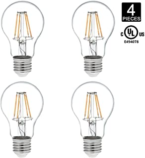 HERO-LED A19-DS-4W-WW27 Dimmable A19 E26/E27 4W Victorian Style LED Vintage Antique Filament Bulb, 40W Equivalent, Warm White 2700K, UL-Listed, 4-Pack