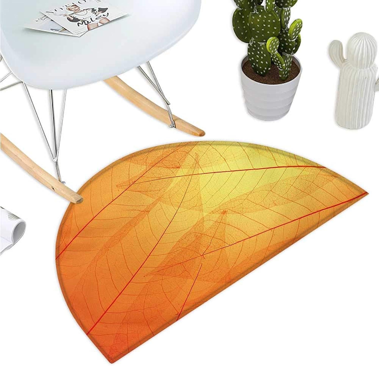 orange Semicircular Cushion Autumn Nature Fall Season Themed Dried Leaves with Skeleton Vivid Veins Close Up Bathroom Mat H 51.1  xD 76.7  orange Yellow