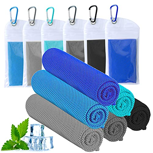 """ICECUUL Cooling Neck Wraps 6 Packs (47""""x12"""") Microfiber Towel for Instant Cooling Relief, Cool Cold Ice Towel for Yoga Golf Travel Gym Sport Camping Running & Outdoor Sports"""