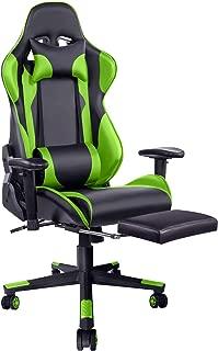 VAILGEゲーミングチェア オットマン付きなリクライニングチェア 180°調整可能のチェア ゲーム用 2Dアームレスト オフィスチェア 腰痛対策 レーシングチェア グリーン 70cm*68cm*123-133cm
