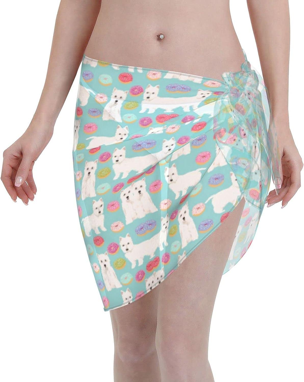 IGYoh Westie Donuts Terriers Chiffon Beach Sarong Women Short Cover ups Beach Swimwear Wrap Skirt Black