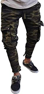 Men's Skinny Stretch Moto Biker Jeans Pencil Cargo Slim Fit Trousers Pants