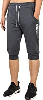 Kuulee Men's 3/4 Jogger Running Pants Casual Workout Gym Shorts Sweatpants with Pockets