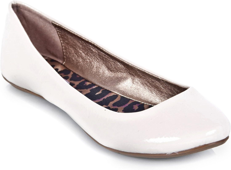 V-Luxury Qupid Thesis-92 Classic Round Toe Patent Slip On Basic Comfortable Flat shoes,Ivory,6.5