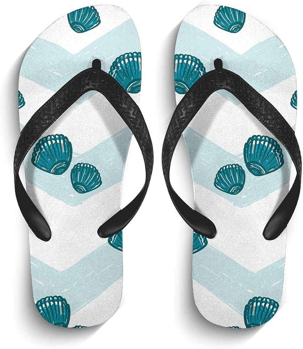 INTERESTPRINT Non-Slip Flip Flop Slippers Chickens and Yellow Flowers Pattern Black Straps Slim Thong Sandal for Men