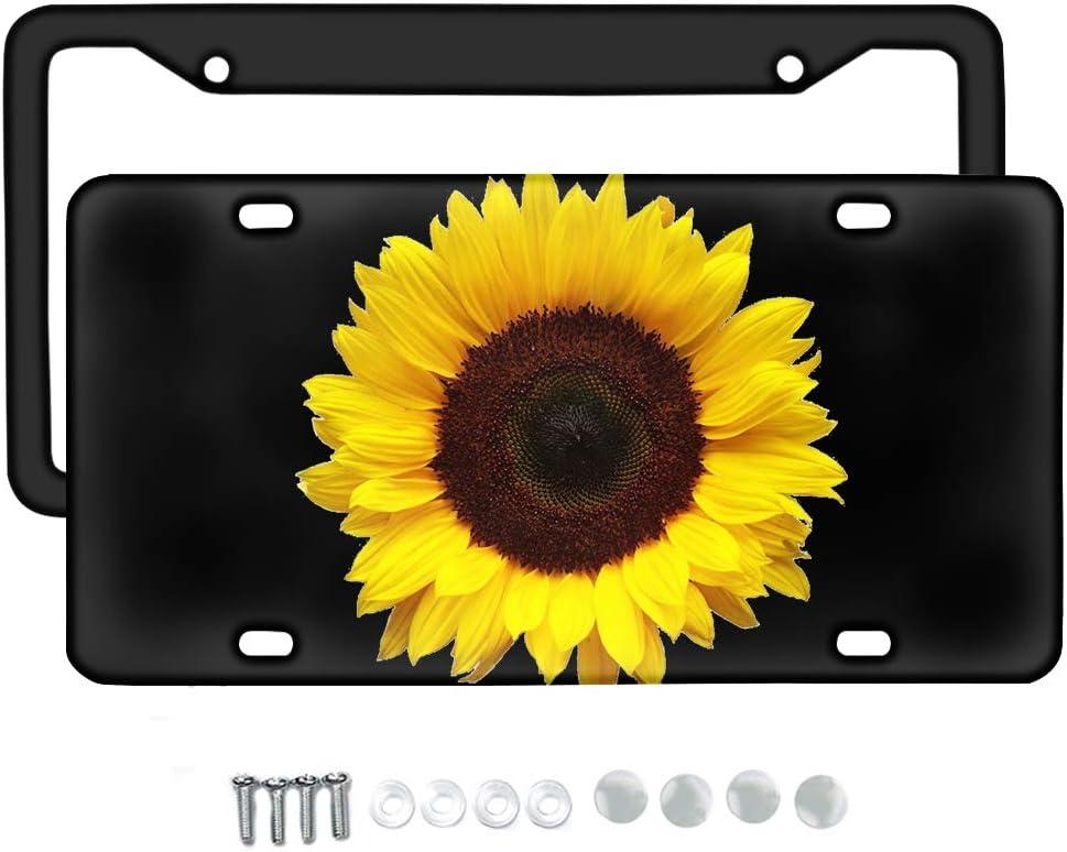 Babrukda 2pcs Max 69% OFF Popular brand 3D Yellow Sunflower Vanity Novenity Front License