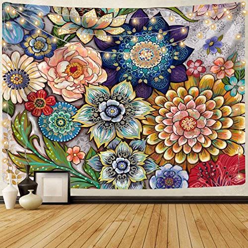 Neasow Colorful Floral Tapestry Wall hanging, Bright Boho Fabric Blossom Tapestries, Multi Color Tapestry for Bedroom Home Hippie Wall Decor 50×60 inch
