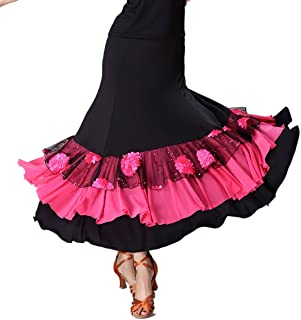 Whitewed Long Women's Smooth Ballroom Practice Dance Costumes Skirts for Adults