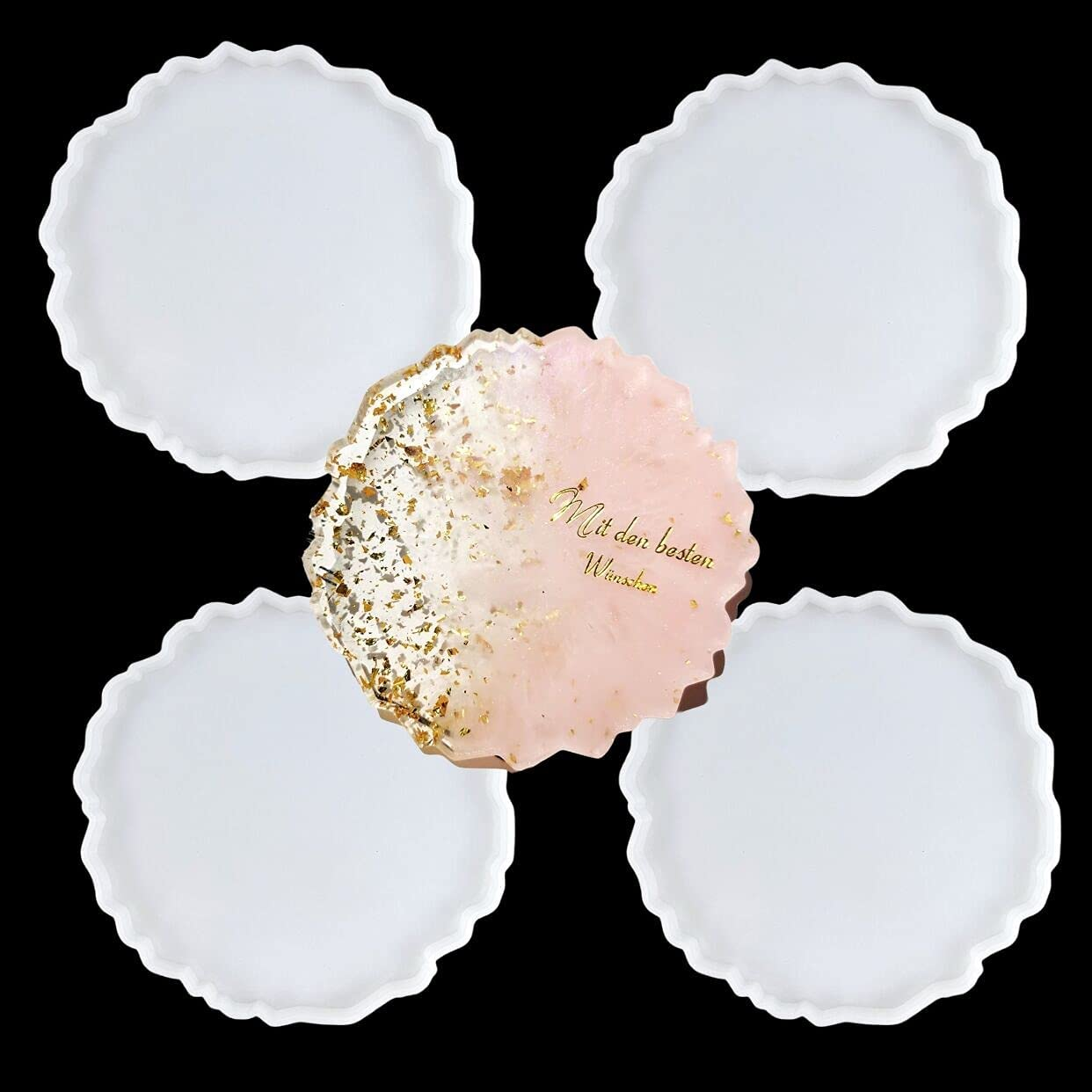 Resin Coaster 2021 autumn and 5 ☆ popular winter new Molds 4 Geode Pcs Silicone for