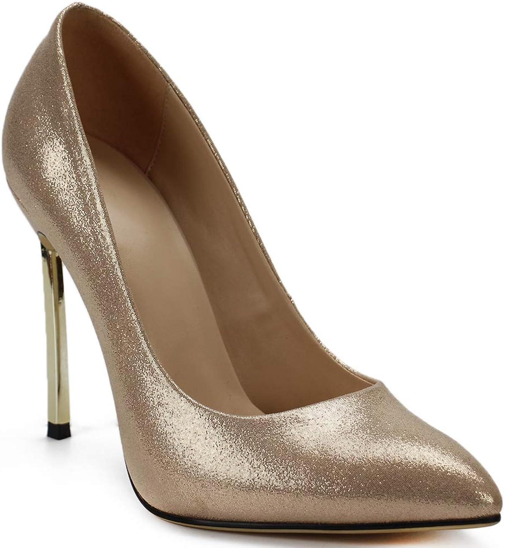 SaraIris Women's Pointed Toe Slip On Basic Stiletto Heel Pumps