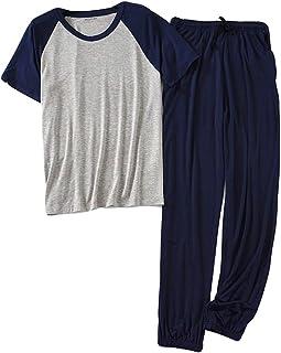 Conjunto de Pijama para Hombre 2 Piezas Ropa de Dormir Verano Cómodo Manga Corta Camiseta y Largo Pantalón Pijamas