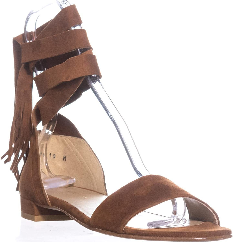 Stuart Weitzman Corbata Lace Up Flat Sandals, Pimento