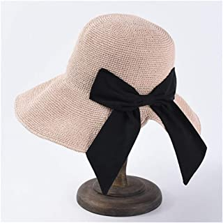 SHENTIANWEI Summer Sun hat Female Hand Hook Foldable Sun Visor Japanese Bow Big Straw hat Holiday Beach hat (Color : Pink)