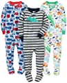 Simple Joys by Carter's Baby Boys' 3-Pack Snug-Fit Footed Cotton Pajamas, Fire Truck/Dino/Animals Green, 2T