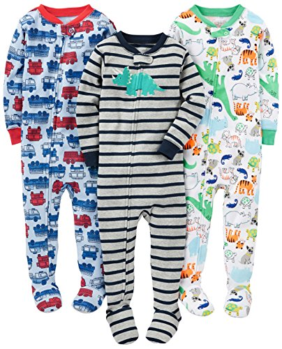 Simple Joys by Carter's Baby Boys' 3-Pack Snug-Fit Footed Cotton Pajamas, Fire Truck/Dino/Animals Green, 24 Months