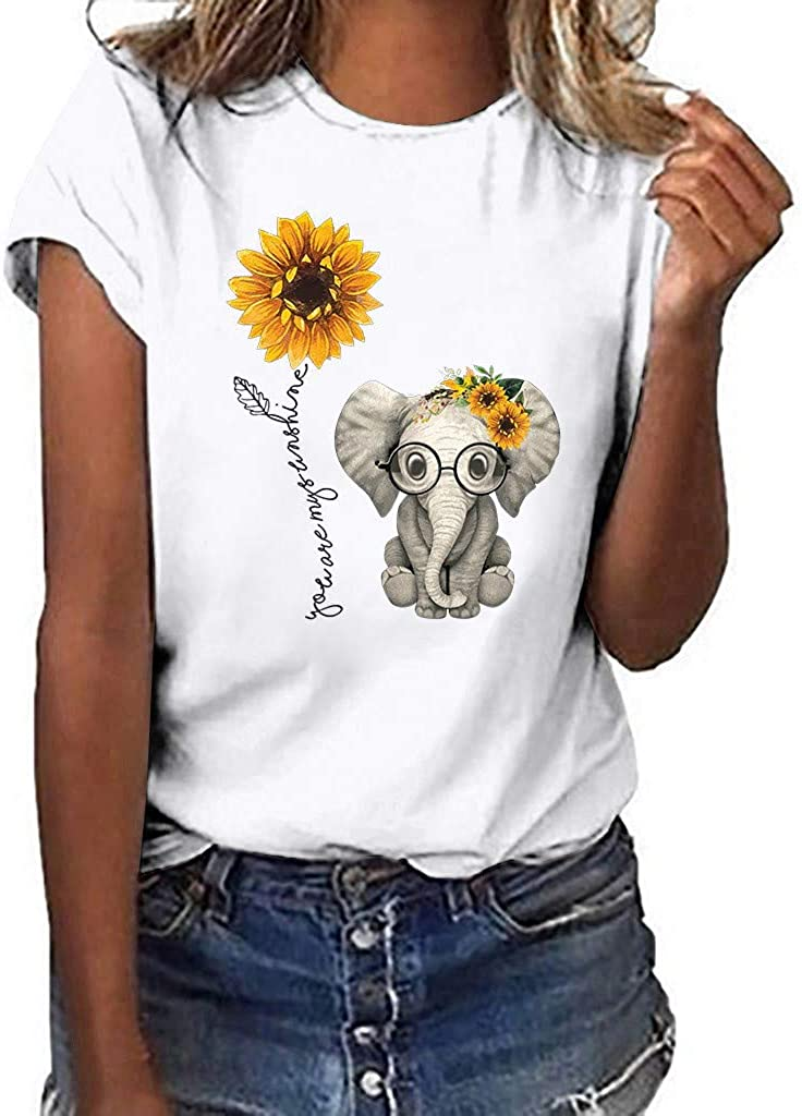 FABIURT T Shirts for Women Fashion Letter Printed Short Sleeve Round Neck T-Shirt Summer Casual Loose Tunic Blouse Tops