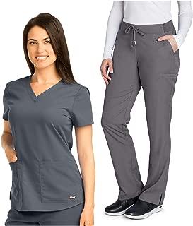 Grey's Anatomy 71166-4277 Women's V-Neck Top - Straight Leg Pant Medical Scrub Set Granite S-S