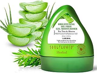 Soulflower Herbal Gel Moisturizer with Aloe Vera, Tea Tree, Vitamin C & Hyaluronic Acid for Acne Prone, Dry & Oily Skin, F...