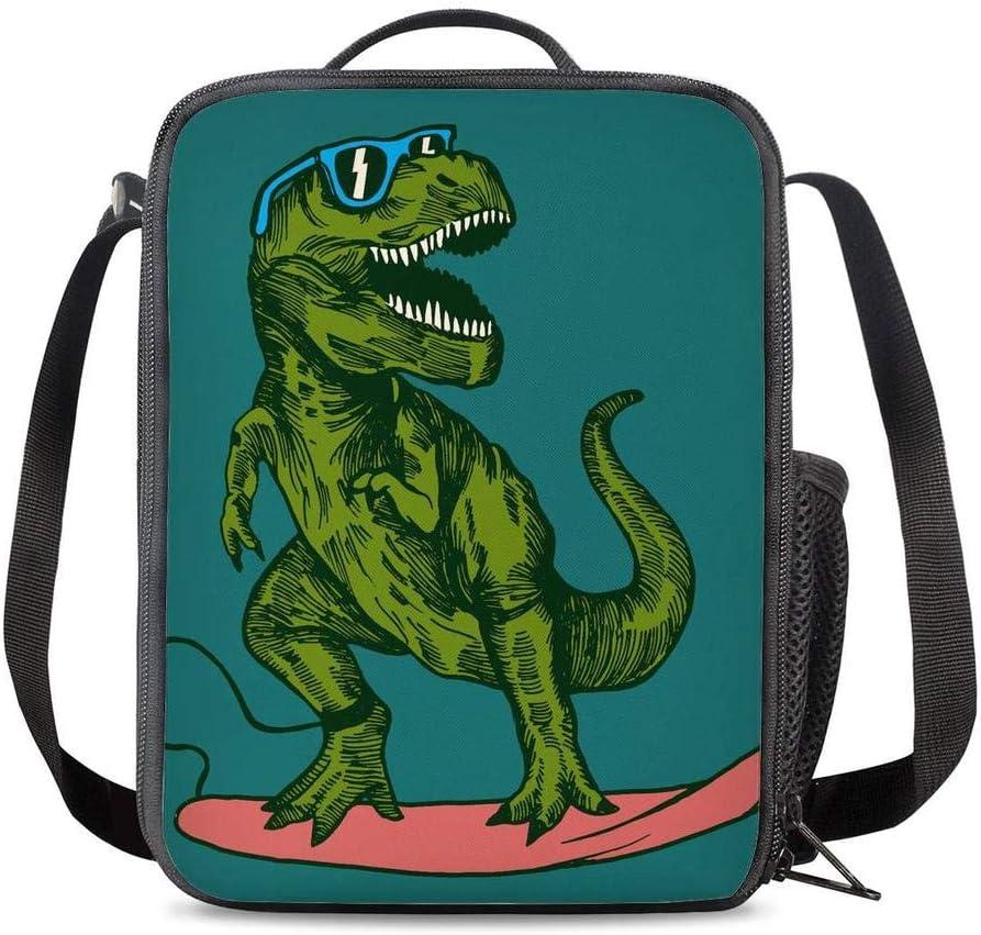 PrelerDIY Surfing Dinosaur New sales Lunch Box Meal Purchase Insulated Bag Ba
