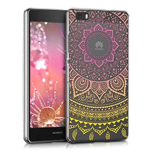 kwmobile Funda para Huawei P8 Lite (2015) - Carcasa de TPU para móvil y diseño de Sol hindú en Amarillo/Rosa Fucsia/Transparente