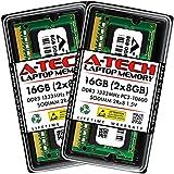 A-Tech 16GB (2x8GB) DDR3 1333MHz SODIMM PC3-10600 2Rx8 Dual Rank 204-Pin CL9 1.5V Non-ECC Unbuffered Notebook Laptop RAM Memory Upgrade Kit