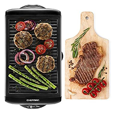 Chefman Electric Smokeless Indoor Grill - XL Griddle w/Non-Stick Cooking Surface and Adjustable Temperature Knob from Warm to Sear Custome Grilling, Dishwasher Safe Removable Drip Tray, Black