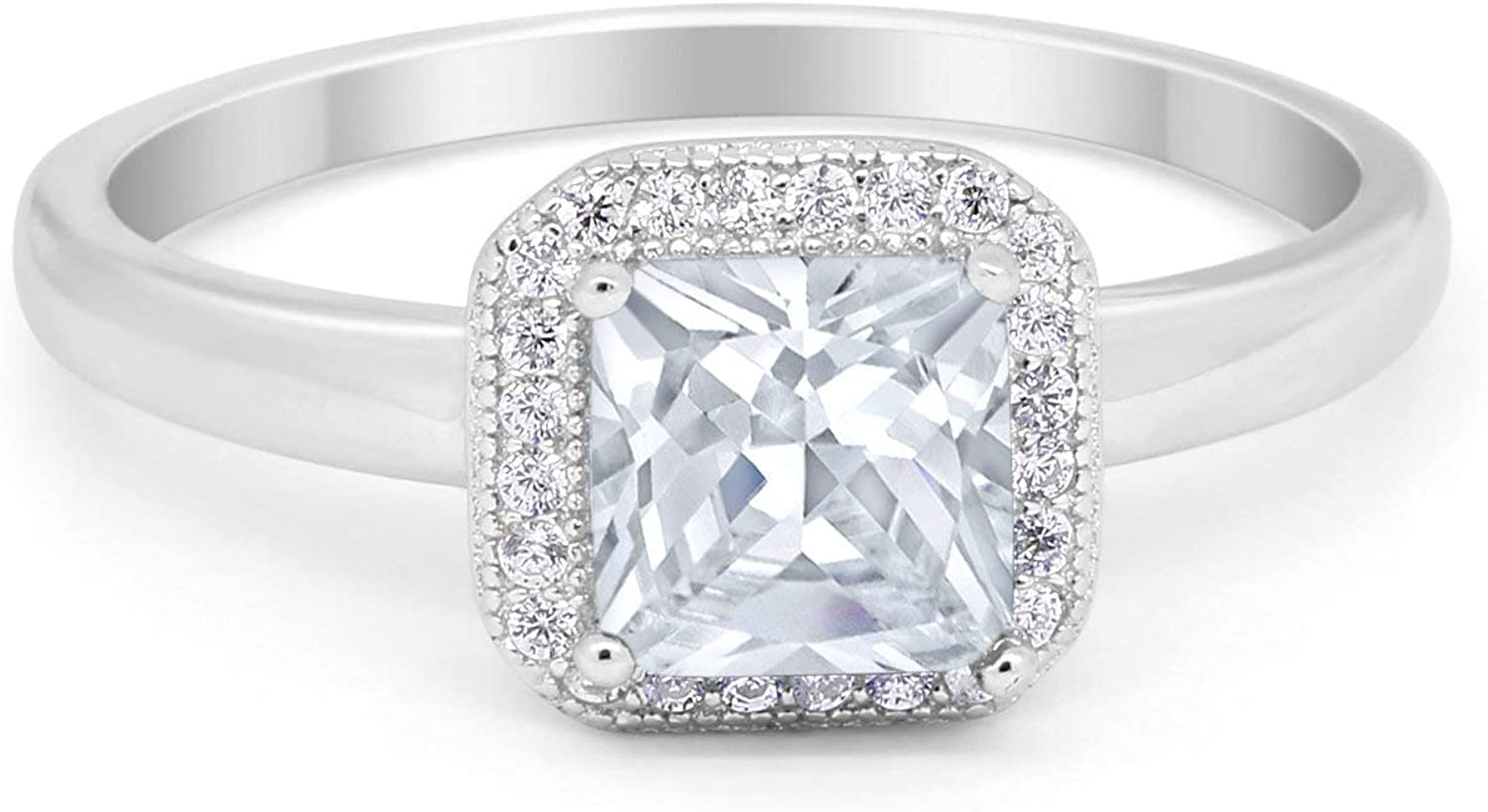 Blue Apple Co. New sales Halo Wedding Cut Engagement Max 50% OFF Princess Ring Square