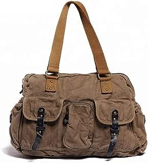 Leather Bag Mens Retro Men Canvas Shoulder Bag Vintage Canvas Men's Bag School Bag Fashion Trend Leisure Travel High Capacity (Color : Khaki, Size : S)