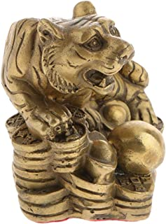 joyMerit Pure Brass Chinese Fengshui Decor Zodiac 12 Animal Statue Coin Mascot Symbol - Tiger