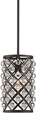 "Genter Bronze Mini Pendant Light 8"" Wide Cylinder Crystal Metal Shade Fixture for Kitchen Island Dining Room - Regency Hill"