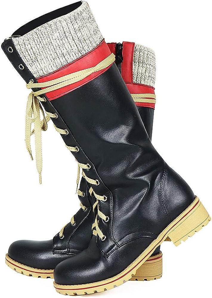 Vimisaoi Knee High Boots 年間定番 for Women Comba オープニング 大放出セール Heel Chunky Zipper Low