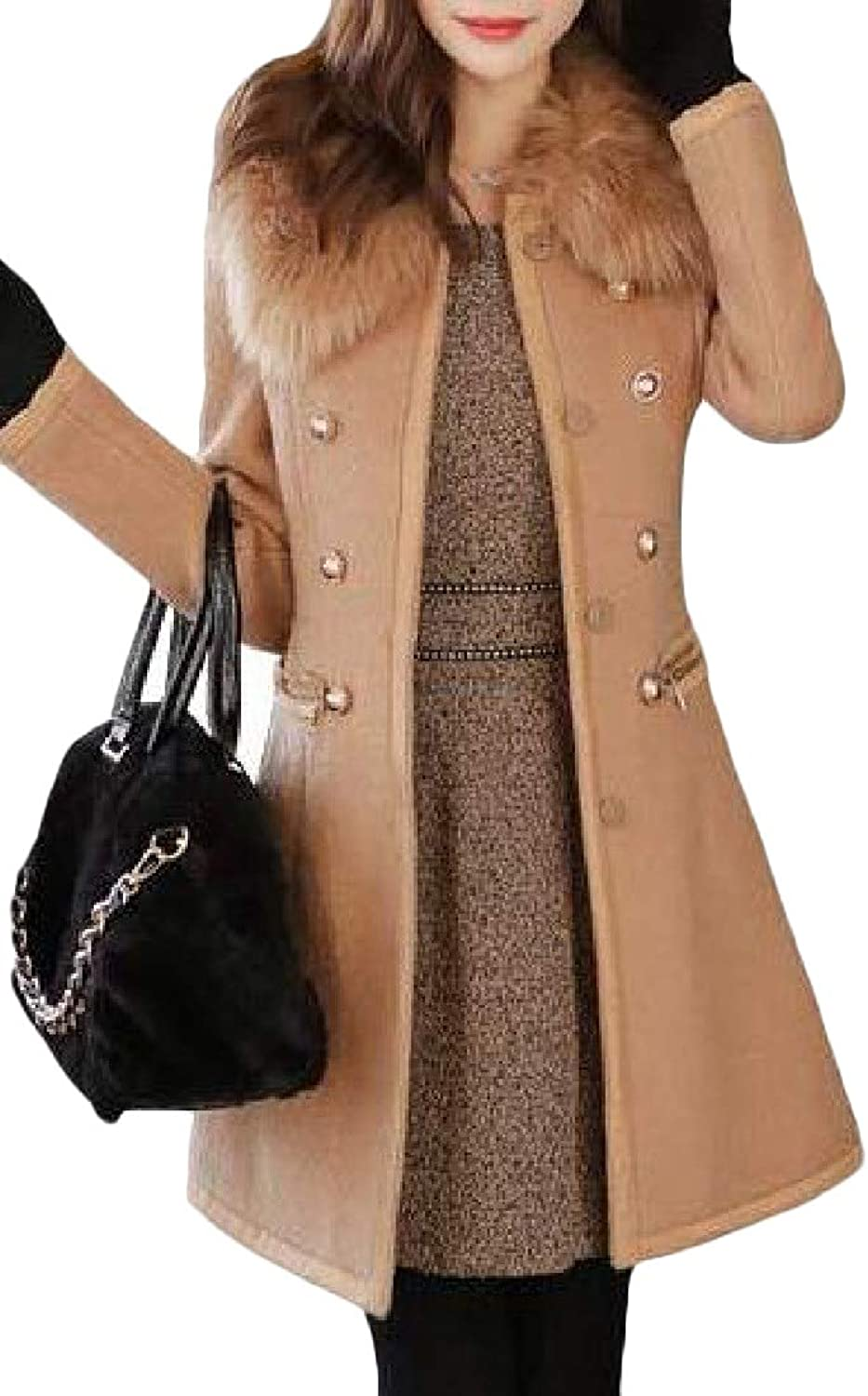 Cromoncent Women's Faux Fur Collar Thicken Winter Trench Coat Outwear Pea Coat