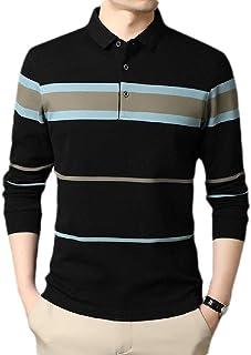 CRYYU Mens Long Sleeve Slim T Shirts Contrast Color Polo