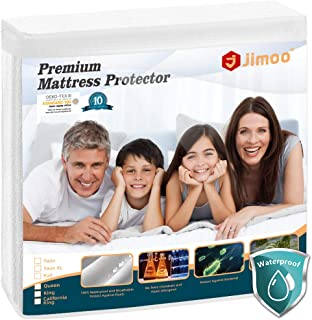 J JIMOO Queen Size Premium Waterproof Mattress Protector,Bed Cover Pad - Smooth - Breathable - Soften - Vinyl Free(White, Queen 60''x80''