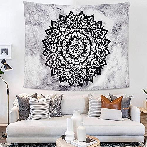 choicehot Vintage Mandala Wandteppich, Boho Retro Wandtuch, Schwarz Grau Mandala Wandbehang, Chic Shabby Psychedelic Tapisserie Stilvoll Prakatisch Tischtuch Tagesdecke 150×200cm