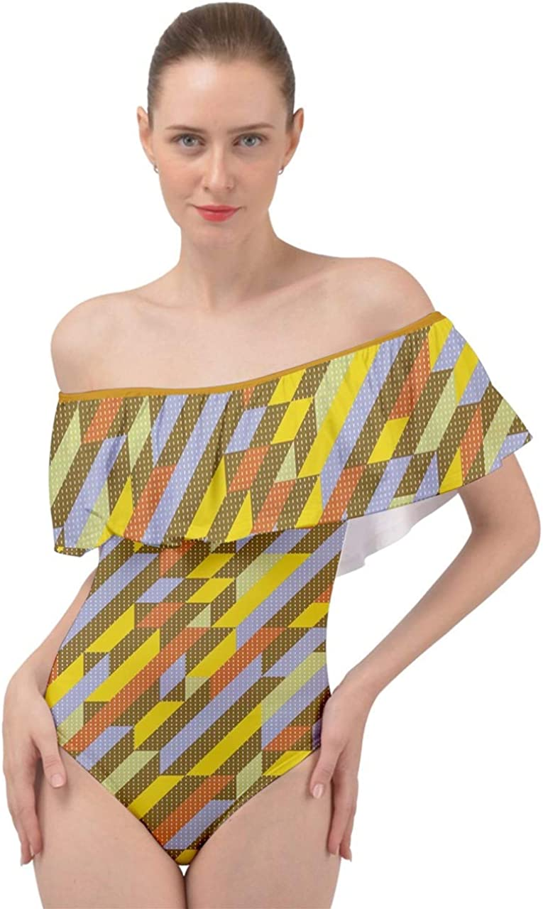 CowCow Womens Colorful Top Vector Abstract Geometrical Polygonal Iridescent Gem Pattern Off Shoulder Velour Bodysuit