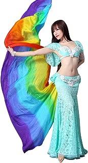 KIKIGOAL Women's 100% Silk Belly Dance Veils and Hand Scarves Gradual Colors 1.14x2.5m/98