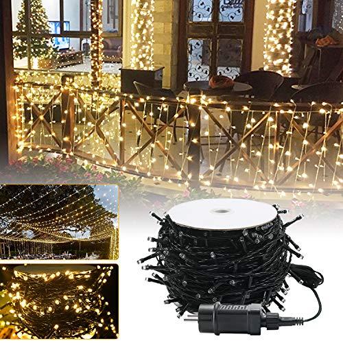 UISEBRT 80m 800 LED Lichterkette Außen Innen Dekoration für Weihnachten, Ostern, Halloween, Hochzeit, Party, mit 8 Leuchtmodi, Wasserdicht IP44 (80m 800LED, Warmweiß)