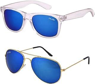 c4a92e7c4b Silver Kartz Transparent Frame Wayfarer and Classic Aviator Blue Mercury  Mirrored Sunglasses Combo (wy241-