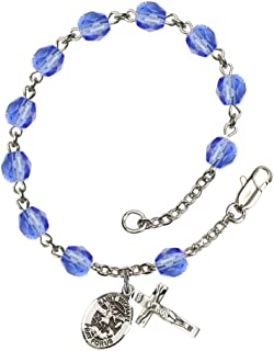 Bonyak Jewelry St. Michael The Archangel Silver Plate Rosary Bracelet 6mm Fire Polished Beads - Every Birth Month Color