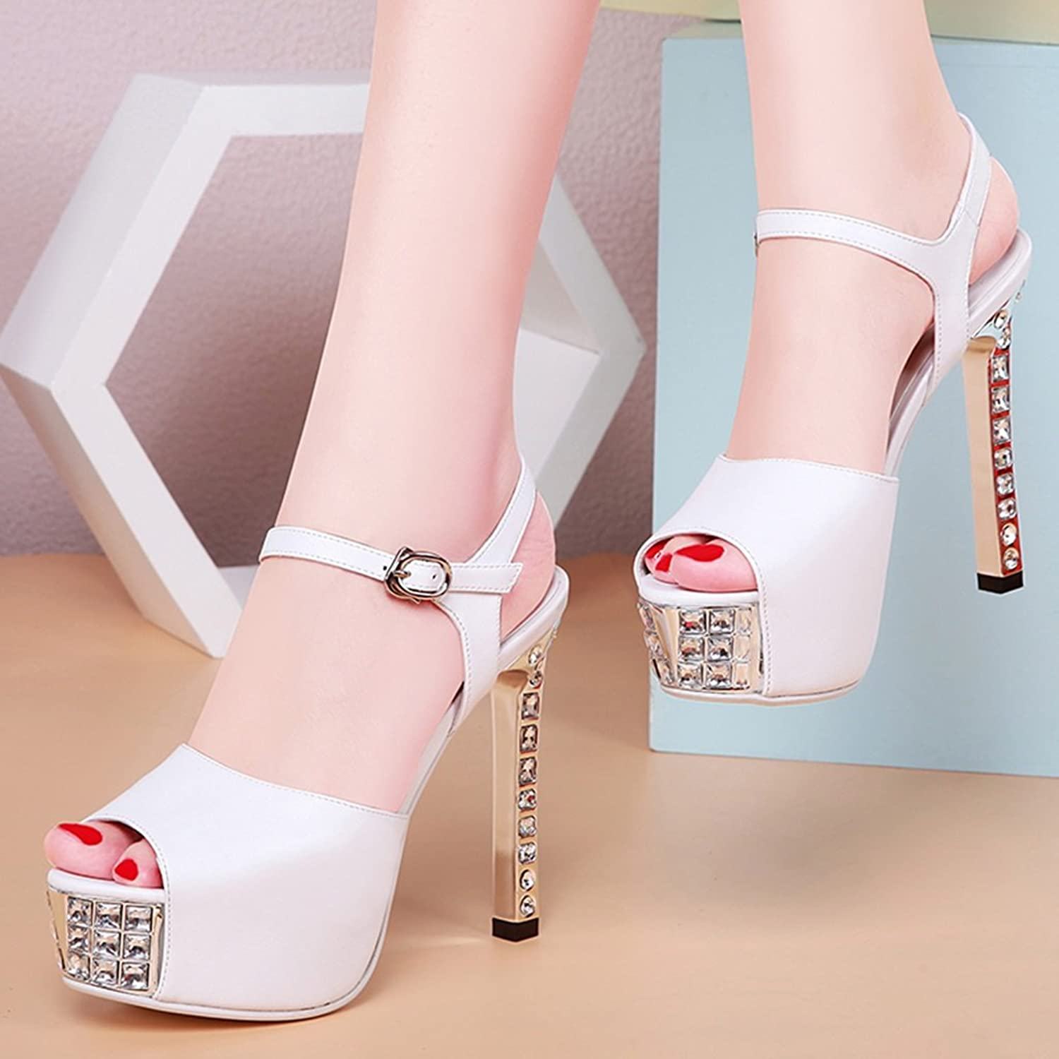 High Heels Sandals shoes high Heels fine with Waterproof Platform Small Fresh Summer Fish Mouth Wild Ladies sandals (color   White, Size   38)