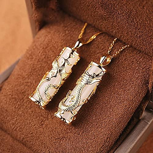 JIUXIAO Incrustaciones de Oro con dragón de Jade y Colgante de fénix Jade de Pareja para Hombres y Mujeres Jade Natural Hotian Colgante de Jade Collar de Jade