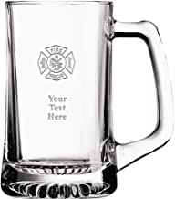 Fire Rescue Custom Beer Glass, 16 oz Personalized Fireman Beer Mug Gift With Your Own Engraving Text Prime