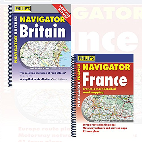 Price comparison product image Philip's Navigator Road Atlas France and Britain Easy-Use Format 2 Books Collection Set