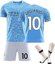 2021 Camiseta de fútbol No. 17 de Blaunet No. 10 El Uniforme de fútbol de casa para niños Adultos con Calcetines Aguero se Puede Personalizar