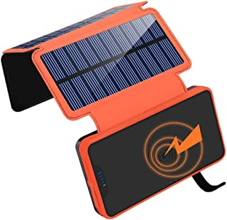Solar Charger 20000mAh, Wireless Power Bank with 3 Solar Panels and 2.1A Dual USB Ports External Battery Pack Portable Solar Battery Charger for Outdoors for iOS Android Tablet Smartphones